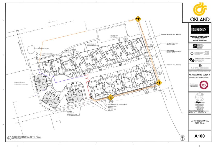 A drawn map of Na Hale Kumu Area A is on the right-hand side and TVA entrance next to Townhouses is right below the Na Hale Kumu townhouses. Jersey barricade placement is marked along with the TVA entrance next to Townhouses and Naniloa Loop. The orange mesh fence placement is marked in the back yard of the Townhouse buildings 6, 7, and 8. The construction fence panel removal is marked in front of Townhouse buildings 7 and 8. The construction fence panels removal is marked from the general entrance to the front of the Townhouse building 7.