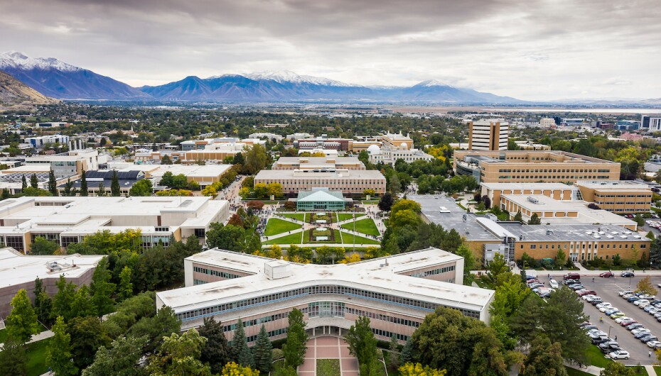 Beautiful aerial view of BYU campus