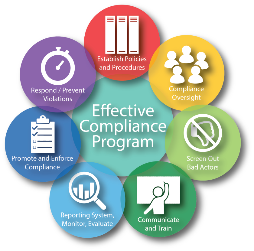 a graphic depicting the facets of the Effective Compliance Program.