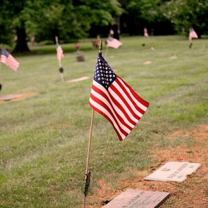 Flag at grave on Memorial Day
