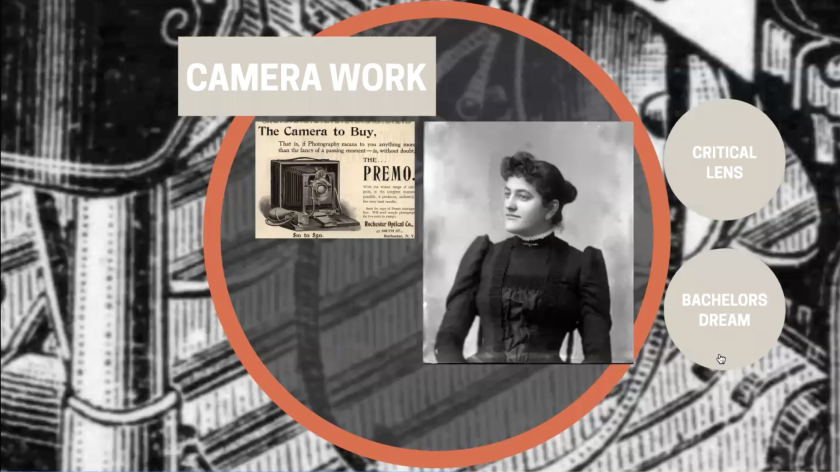 """Screenshot of Zoom slide of a black and white photo of Elfie Huntington, a clip of a magazine looking photo of a camera with words """"the camera to buy"""" and other words saying, """"camera work, critical lens, bachelors dream."""""""