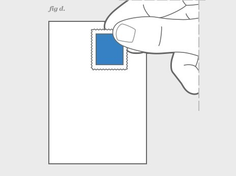 image of a hand placing a stamp on an envelope