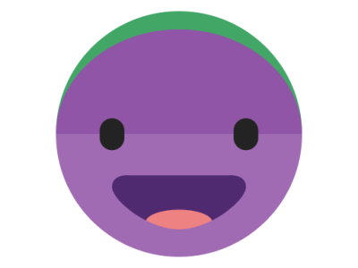 This is a picture of a purple circular smiling face.