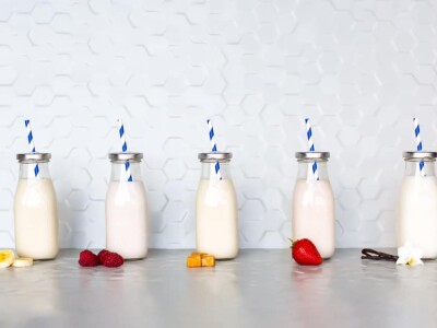 Five bottles of milk of the new flavors of milk at Milk & Cookies.
