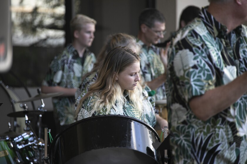 Band members, wearing green-leafed shirts, are playing on steel drums.