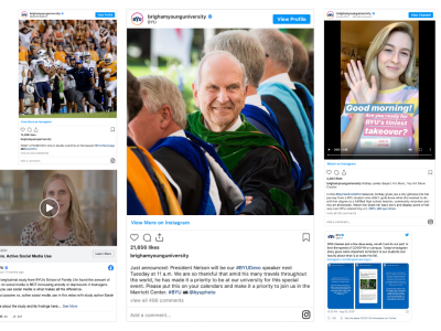 Collage of various BYU social media posts
