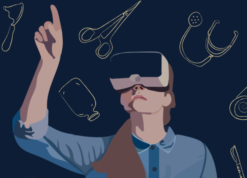 An illustration of a girl using VR glasses, with various medical objects in the background.