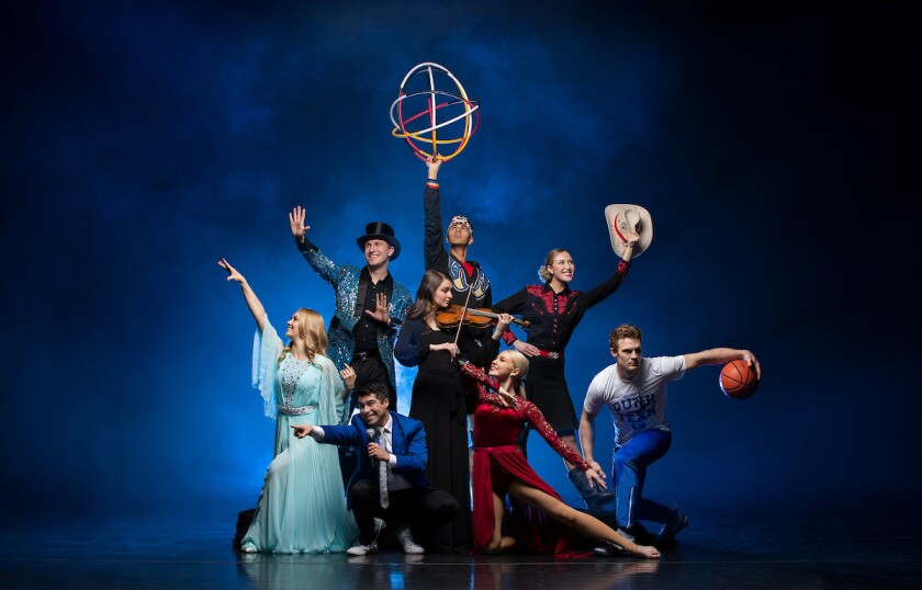 China Spectacular cast poses in front of a blue background