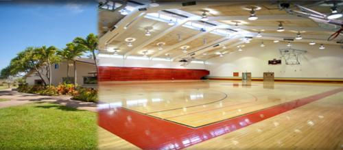Photo of outside and inside old gym
