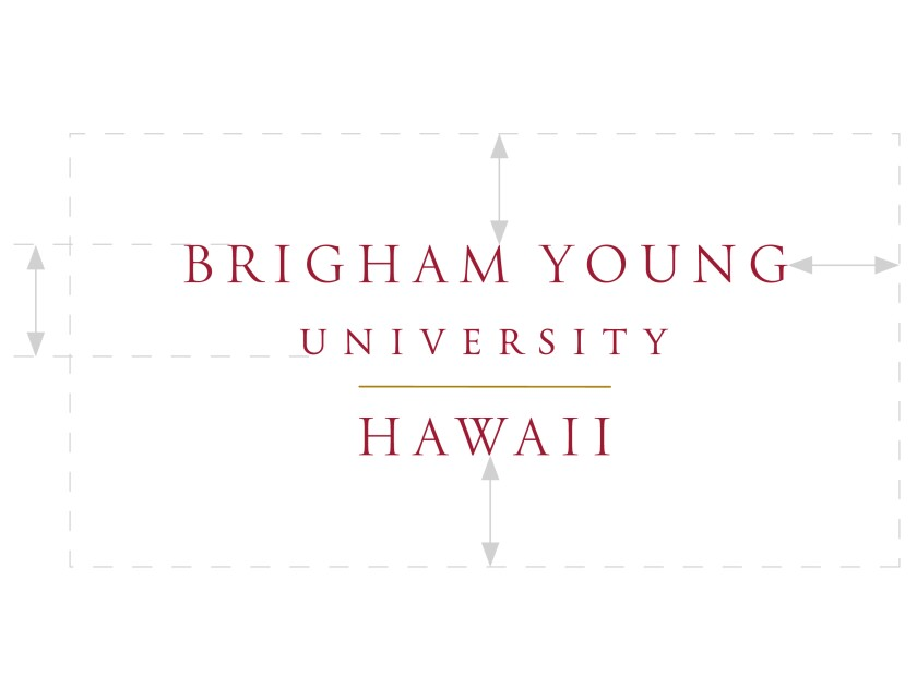 Brigham Young University–Hawaii wordmark and its clear space around it, using the height of the first two lines as the measurement.