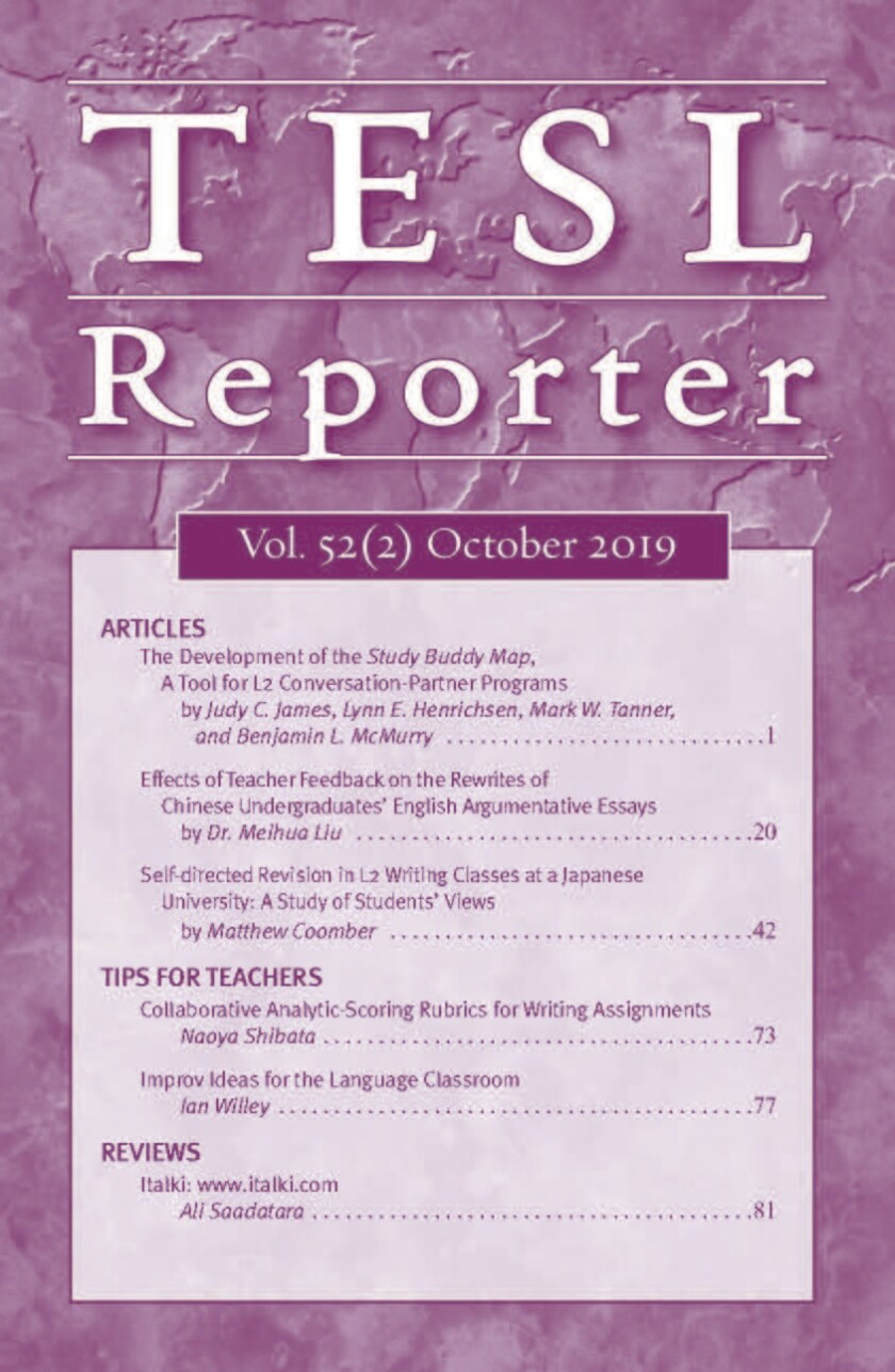 This is the cover page for the TESL Reporter Volume 52, second issue from October 2019