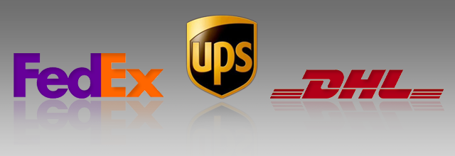 Federal Express (Fed Ex), United Parcel Service (UPS), and Dalsey Hillblom Lynn (DHL) logos