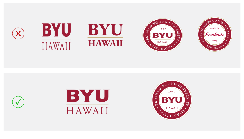 In two rows: the top row has examples of the logos that are warped, manipulated, and redesigned; the bottom row has examples of correctly leaving the logo at its original ratio and design.