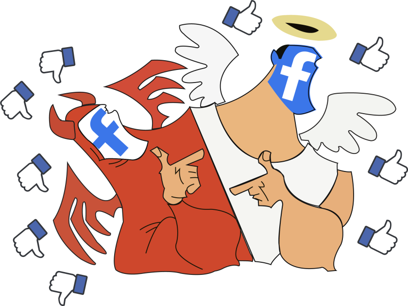 Illustration with Facebook logos, Like buttons, and an angel and devil pointing at each other with Facebook logo faces.
