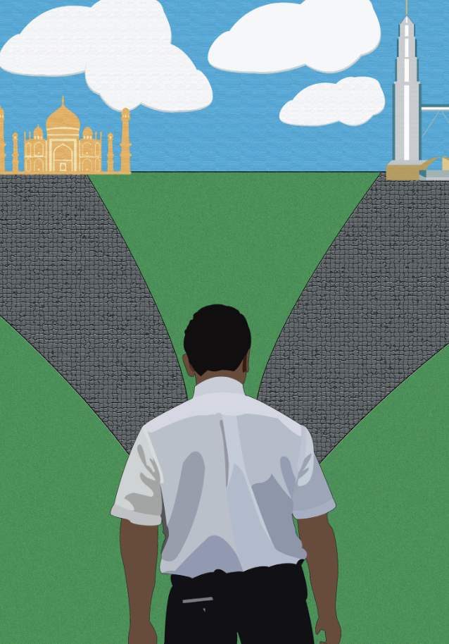 An illustration of a man in a white shirt with the Petronas Towers and Taj Mahal in the background.