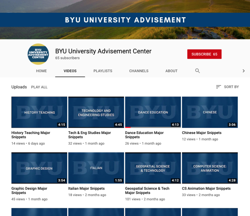 BYU Advisement YouTube Channel