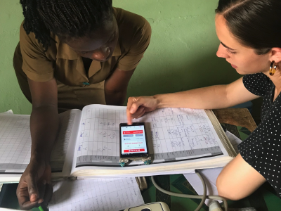 BYU student working with Community Healthcare Worker in Ghana