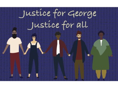 "A graphic of five people holding hands with the words above that read ""Justice for George, Justice for all."""