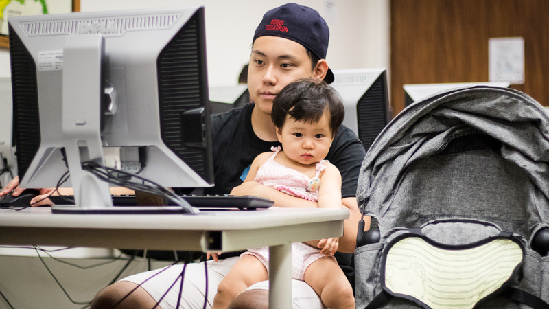 Students struggle to find balance with taking care of their children and attending classes.