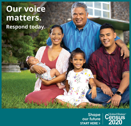 A family stands in front of their home for a 2020 census ad.