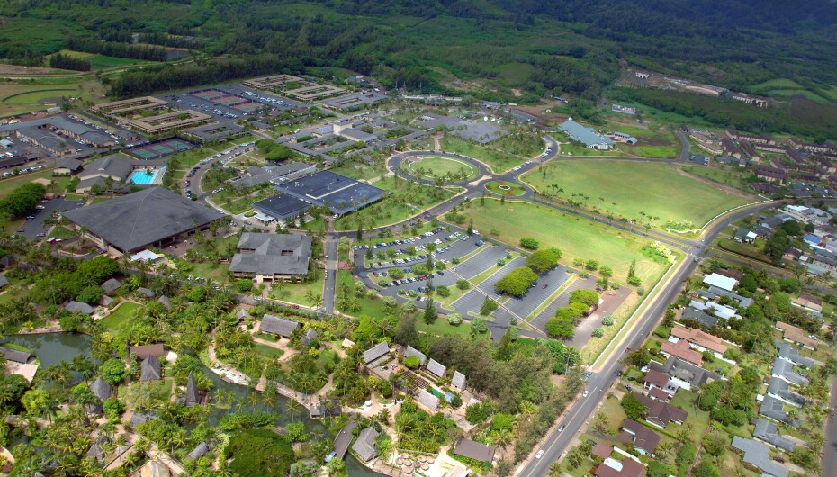 Aerial view of the Polynesian Cultural Center and BYU–Hawaii