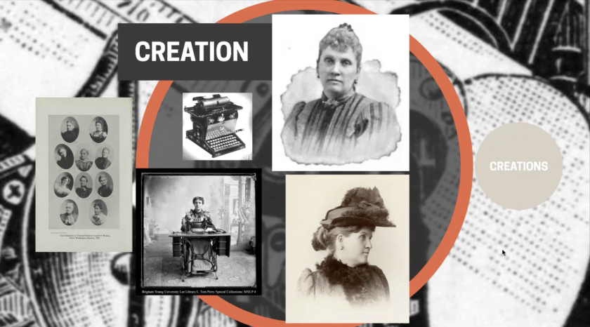 """Screenshot of Zoom event with old back and white photos of Susa Young Gates, a typewriter and small circles of other women with the words """"creation, creations"""" on the slide."""