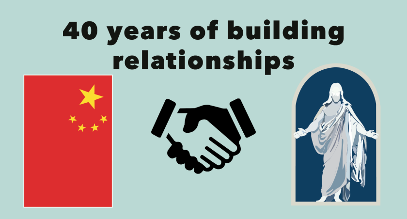 "Graphic of China flag, handshake, and Latter Day Saints logo, the white Jesus stature with blue background. With words overheard saying, ""40 years of building relationships."""