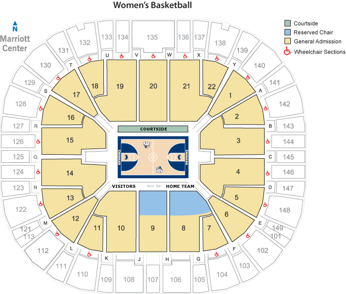 BYU Women's Basketball Seating Map