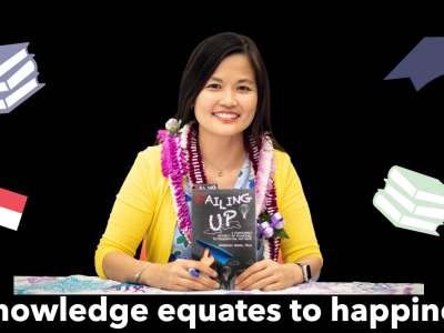 """Dr. Hong wearing yellow cardigan with leis around her neck holds up book """"Failing up"""" while graphics of a graduation cap, books and the Singapore flag are in the background with the words underneath her """"Knowledge equates happiness."""""""