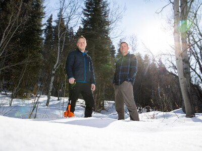 Sam St. Clair and student Jordan Maxwell; Measuring snowpack after wildfires