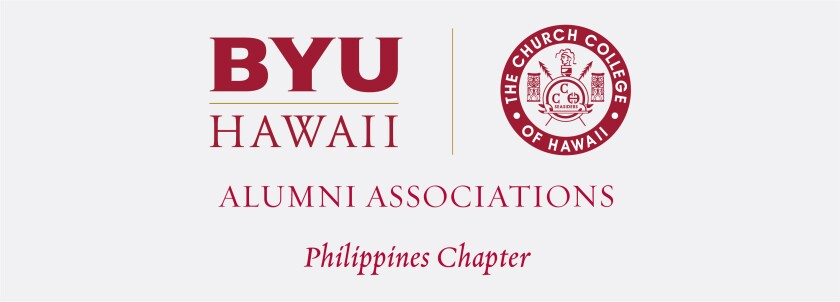 The BYUH Alumni Association mark for the Philippines Chapter with the Church College of Hawaii logo and BYUH monogram and name of the association and chapter below.