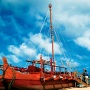 Hawaiian wooden carved canoe on a beach in dry dock. The mast is up but the sail is not out.