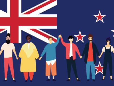 An illustration of six people holding hands with the New Zealand flag in the background.