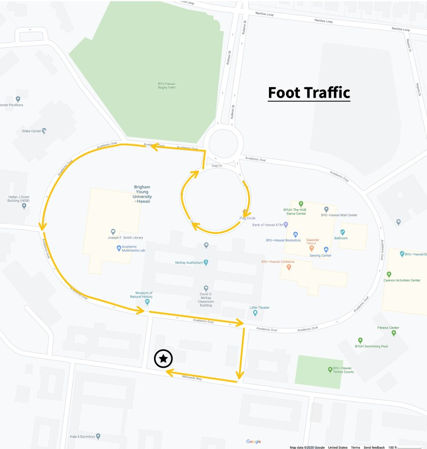 Map showing where walk-by participants can line up: Walk-by participants will be able to line up on the PCC side of President's Home. The line will begin on Mioknele Way, wrap around the Health Center, and onto the Academic Oval near the Academic Advising Center. If needed the line will continue around the Academic Oval and onto the Flag Circle.