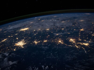 The surface of earth at night.