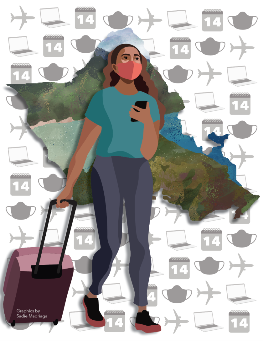 Graphic of women wearing a mask and pulling along a suitcase in her hand with the island of Oahu in the background and outlines of airplanes, masks, laptops and calenders.