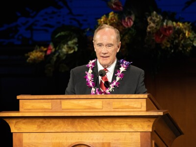 President John S. Tanner at pulpit