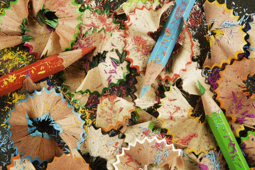 Color pencil sharpening sawdust and color scraps