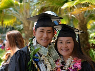 picture of byuh alumni Gankhuyag Tsogoo graduating with his wife