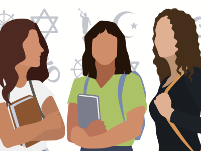 An illustration of three females holding books and bags with various religious symbols in the background.