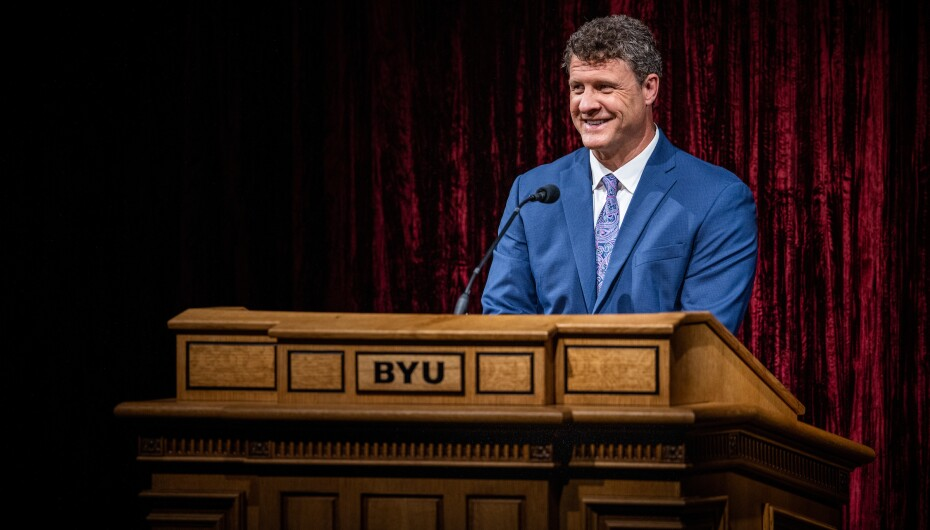A professional portrait of Steven Harper, BYU professor of Church history and doctrine, giving his devotional address.