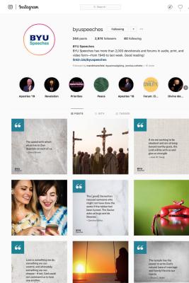 Screen shot of BYU Speeches Instagram Grid