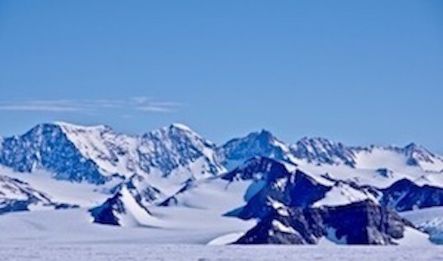 Mountains, snow and ice in Antarctica.