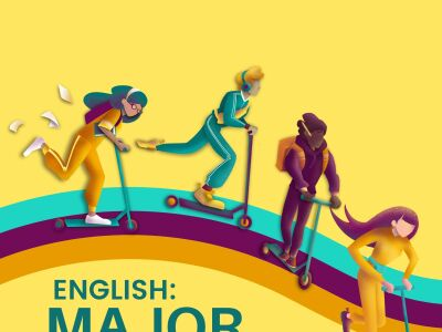 Illustrated poster advertising English Major Changes.