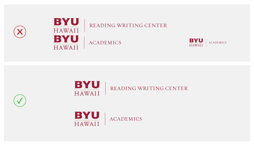 In two rows: the top row has examples of two department logos that are too close to each other, not maintaining the clear space and another logo on the right of the row that is too small; the bottom row has two department logos that are at maintaining its clear space around it and are at a size that is acceptable according to guidelines.
