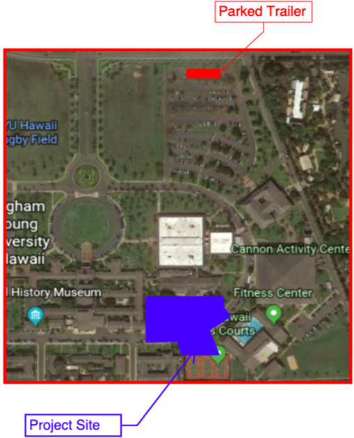 A satellite map of the BYU–Hawaii campus marking the area between the Cafeteria and the Tennis Courts as the and the project site. Also, an area in the Main Parking Lot near the Naniloa Loop wall is marked as the parked trailer.