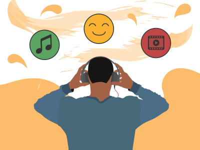 A graphic of a person wearing headphones with a music icon, a smiley face and a media icon above them.