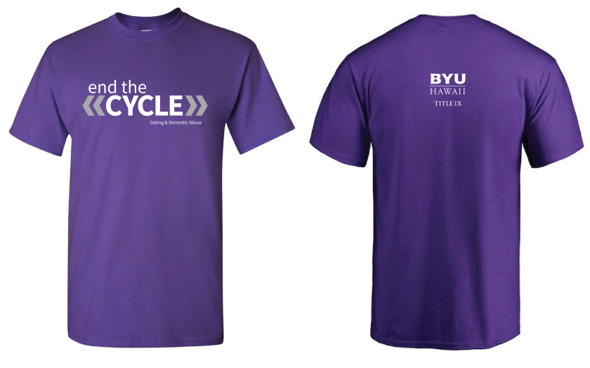 End the Cycle campaign purple shirt sample; front and back design; front has the campaign graphic and back has the department logo