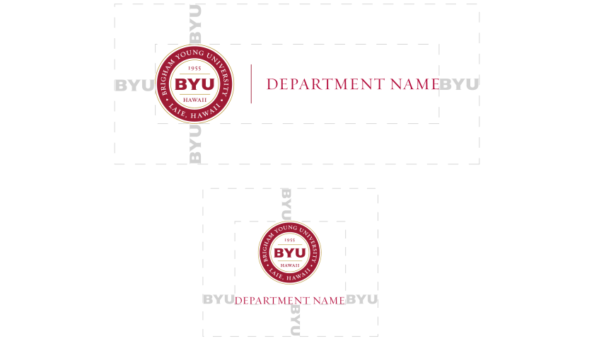"The two orientations—horizontal and vertical version of the BYUH medallion secondary identity logo with default text ""department name."" Also presenting the clear space around it using the width of ""BYU"" around it."