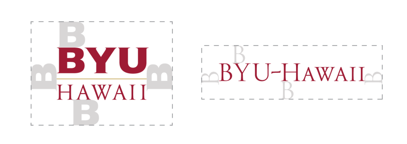 The BYUH Monogram 1 on top and the BYUH Monogram 2 below it. They both present the required clear space around the marks using the height of BYUH's letter B.